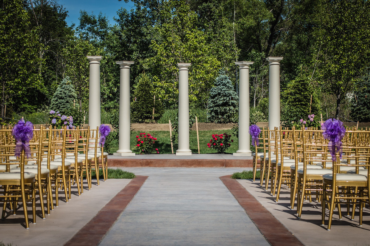 Wedding Ceremony Setting - Outdoor Patio and Garden - The Columns Banquets - Serving Buffalo and Elma NY