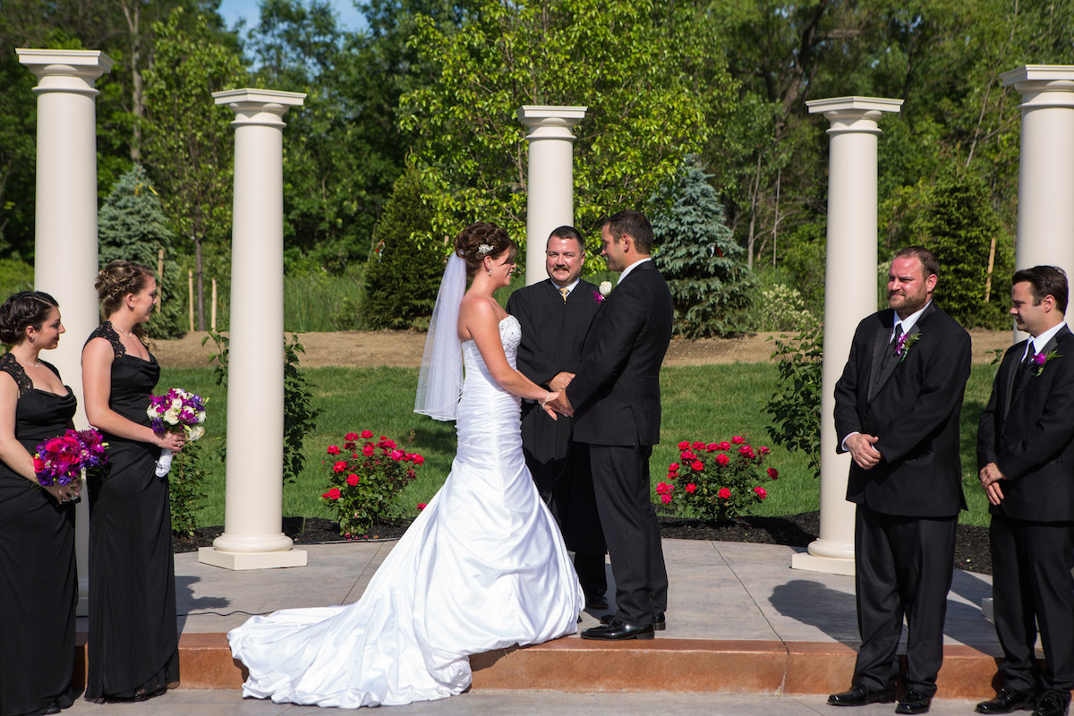Wedding Ceremony - Outdoor Patio and Garden - The Columns Banquets - Serving Buffalo and Elma NY